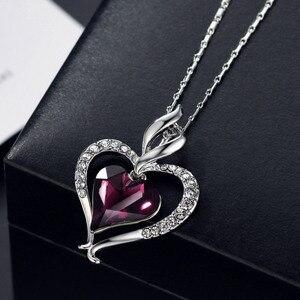 Image 5 - Neoglory áustria cristal & strass longo charme pingente colar de declaração duplo amor corações presente na moda para as mulheres diariamente