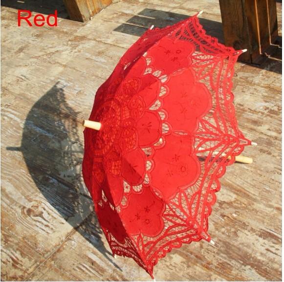 New Lace Umbrella Cotton Embroidery White/Ivory Battenburg Lace Parasol Umbrella Wedding Umbrella Decorations Free Shipping 22