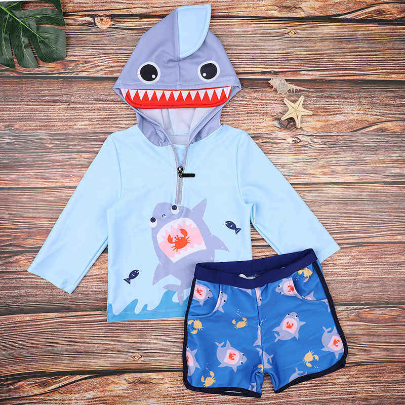 Купальный костюм для маленьких мальчиков с капюшоном и рисунком акулы; детский купальный костюм для мальчиков; солнцезащитный купальный костюм для серфинга; одежда для купания; спортивный купальник для счастливой воды