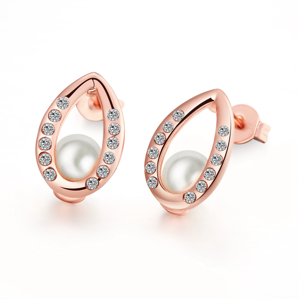Free Shipping Christmas Gift Pearls Earrings For Women Brincos Grandes Rose  Gold Colour Stud Earrings Fashion