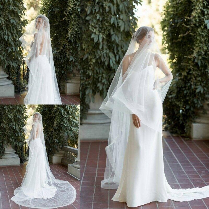 Vintage Chapel Length Wedding Drop Veils 1T Bridal Veils Accessories Lace Applique Wedding Veils Free Shipping
