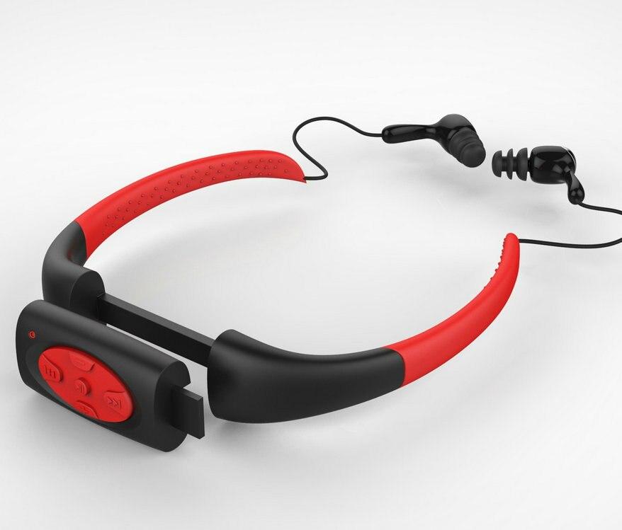 bilder für 4 GB 8 GB Wasserdichte Tauchen Unterwasser Schwimmen Surfen Neckband Sport Stereo Kopfhörer Headset MP3 Musik-player FM Radio