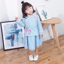 girls hanfu chinese costume cotton linen dress for embroidery Chinese traditional clothing