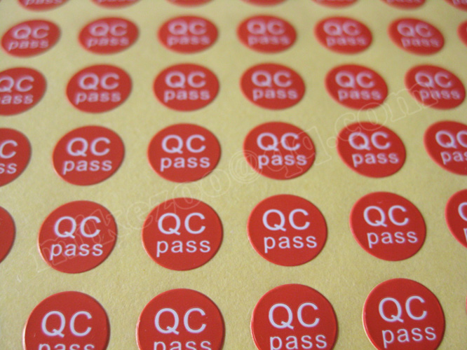 20000pcs/lot 10mm brown/red/orange/blue/purple/green QC PASS Self-adhesive sticker for plant quality control, Item No. GU08