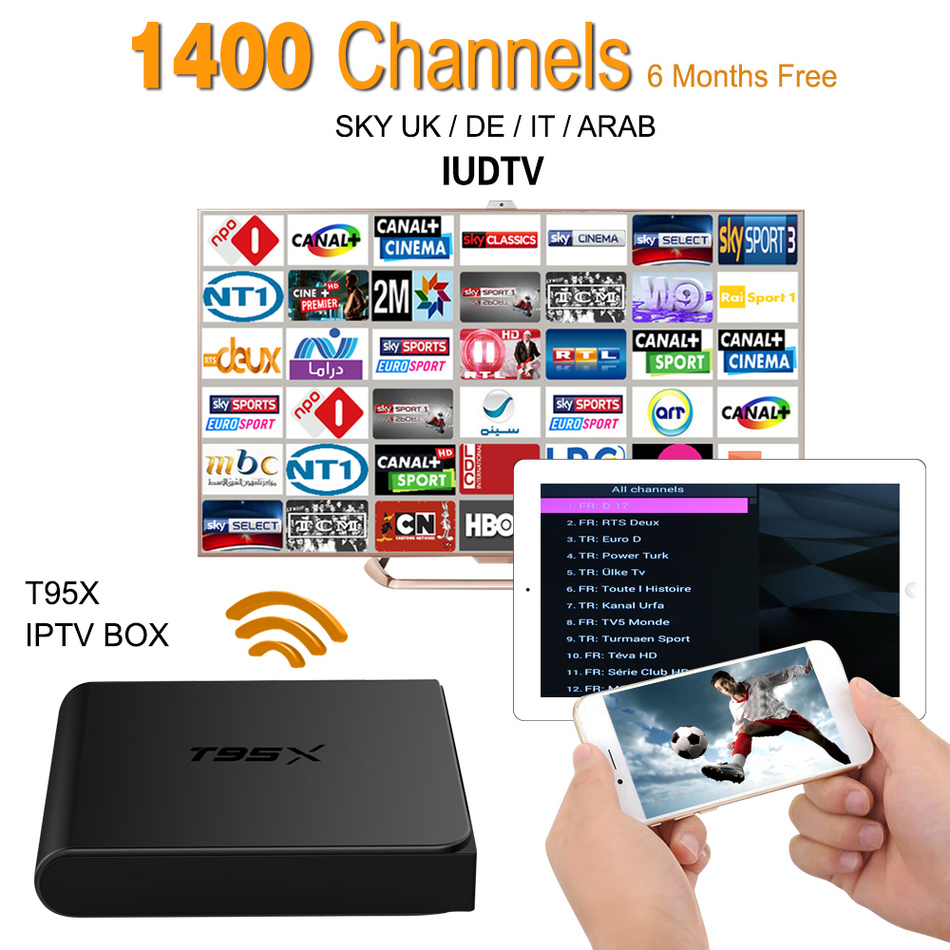 Europe IPTV Box Android 6.0 TV Box Sky IPTV Receiver & 1700+ Sky Arabic French Turkish Netherlands Channels Strong wifi Tv Box iptv streaming box leadcool android wifi 1g 8g include 1700 italy portugal french receiver europe arabic channels package