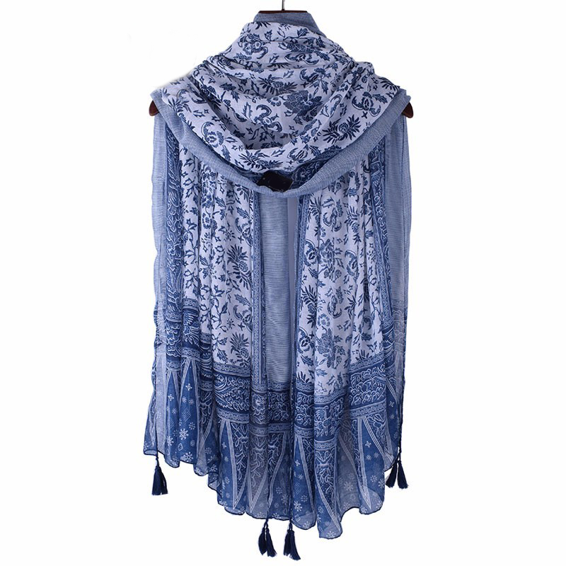 10pcs wholesale Fashion Woman Scarves with Tassels Floral Printed Scarf for Women Girl 100cm*180cm Large Summer Shawls V9A18544