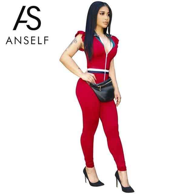 260d61c8d3 Anself Sexy Rompers Womens Jumpsuit Turndown Collar Crochet Color Tracksuit  Long Pants One Piece Playsuit Rompers Black Red Ropa