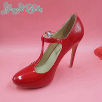 Red Patent Leather Round Toe Women Pumps T strap Closed Toe High Heels Stilettos Chaussure Femme Plus Size US15 Shoes Ladies