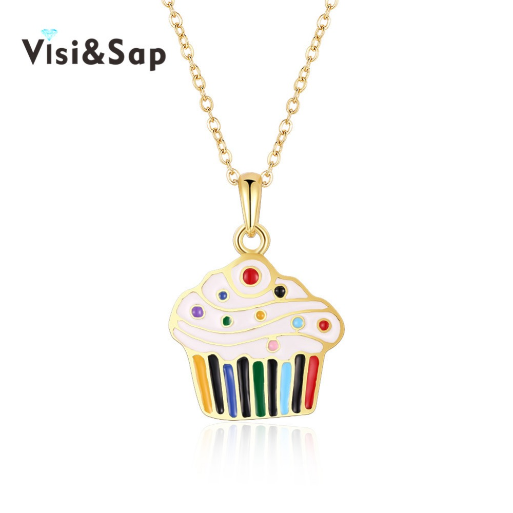 Visisap CupCake Necklaces For Women Family New Year