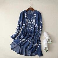 2017 Women Floral Embroidered Tencel Denim Dress O Neck Long Sleeve Casual Summer Dress Brand Vestido