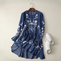 2017 Women Floral Embroidered Tencel Denim Dress O Neck Long Sleeve Casual Summer Dress brand vestido bordado Plus Size APWM113