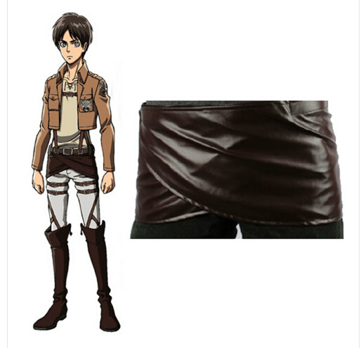 Anime Shingeki No Kyojin Attack On Titan Deluxe Edition Cosplay Costumes Chocolate PU Leather Apron Belt Skirt