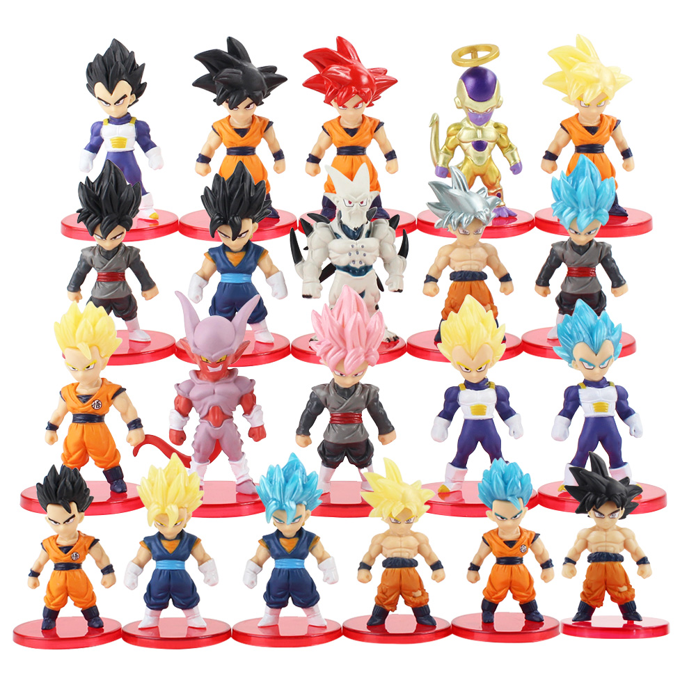 21pcs/lot Dragon Ball Super Saiyan God Action Figure Son Goku Gohan Vegeta Vegetto Frieza Zamasu Ultra Instinct Model Toys