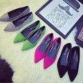 2016 Весна ОЛ Работа Женщины Повседневные Квартиры Обувь Одного Из Нубука кожа Мелкая Рот Острым Носом Моды Мокасины Обувь EU Размер 35-39
