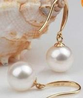 Free shipping charming south sea 10 11mm white pearl Earrings 14 solid gold