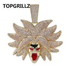 TOPGRILLZ Broly kolye kolye buzlu Out kübik zirkon Hip Hop altın gümüş renk erkekler kadınlar Charms zincir takı