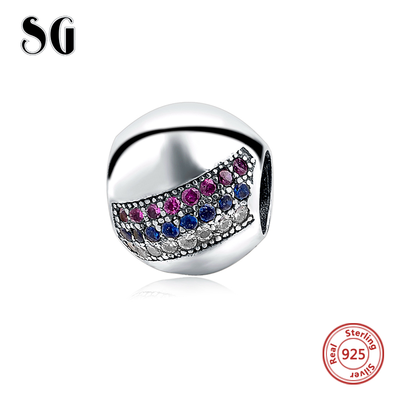 New Original 925 Sterling Silver Pave Lights multi colored CZ Ball Charm Beads Fits pandora Charms Bracelet DIY Jewelry Making