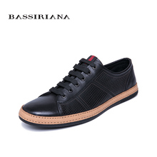 BASSIRIANA 2019 New Genuine Leather men casual shoes lace up comfortable round toe breathable black spring summer 39-45 size