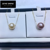 Freshwater Pearl Chain Necklace 18K Gold Real Natural Pearls pendant Women Fine Jewelry gift fashion 4 colors NL012