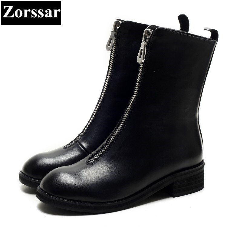 {Zorssar} 2018 NEW fashion women boots Genuine leather Med heel womens Mid-Calf boots Round Toe shoes Autumn winter women shoes double buckle cross straps mid calf boots