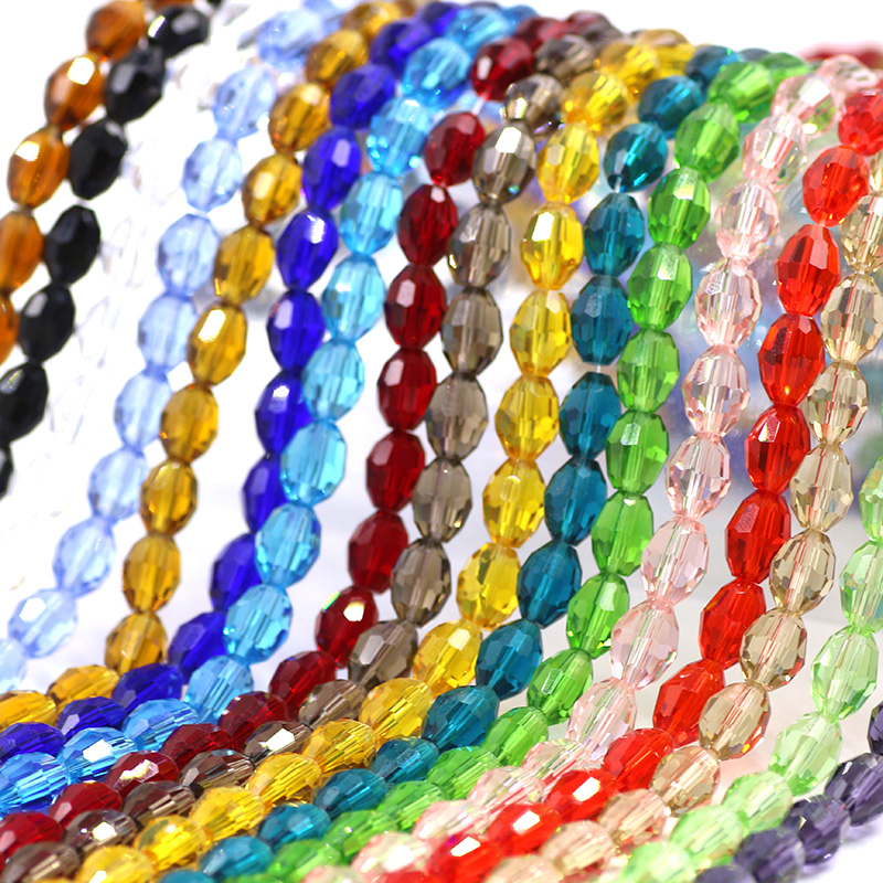 22x13mm Flat Oval Faceted Glass Crystal Beads Loose Spacer Finding Free Shipping