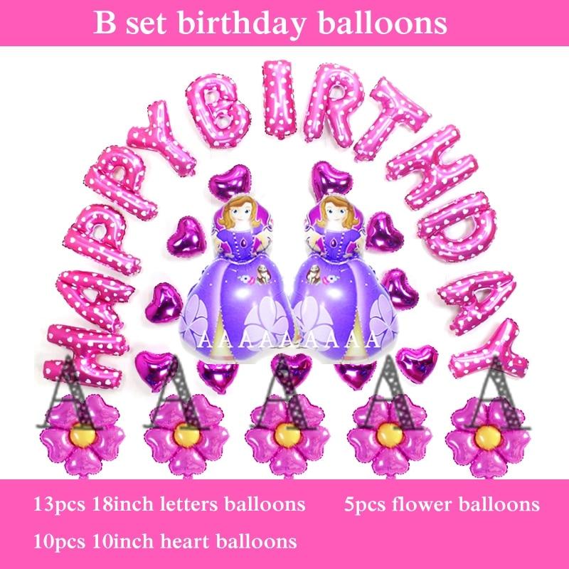 free shipping 30pcs princess birthday set balloons sofia happy birthday balloons