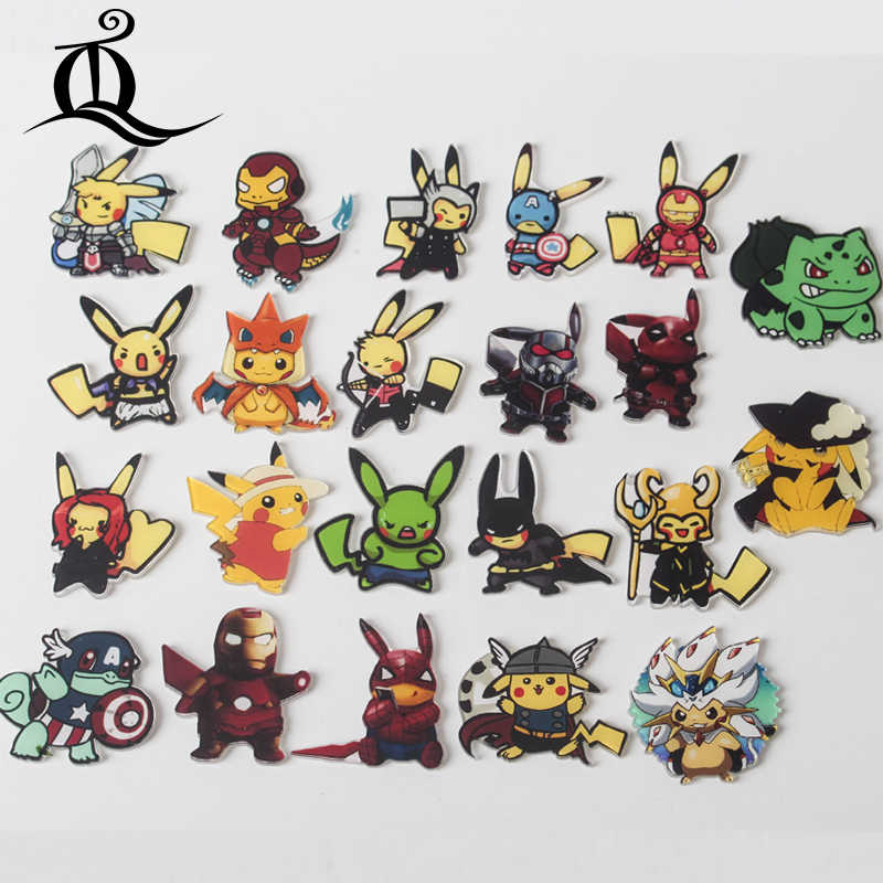 1pcs Marvel The Avengers Cartone Animato Pokemon pikachu Spille Zaino Studente Abbigliamento Spille Spilli Bag Decor Spilla Distintivi e Simboli Z64