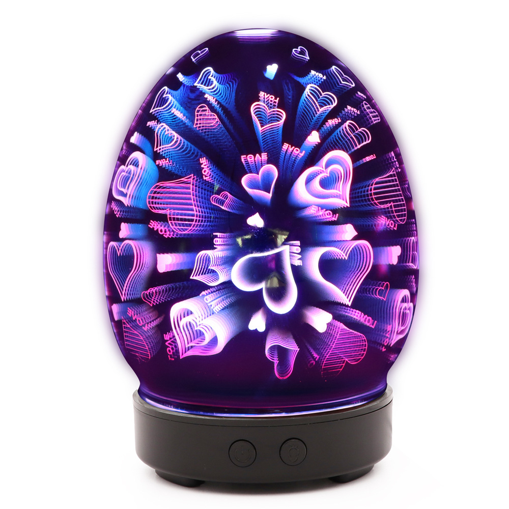 100ml Luxury Decor Air Humidifier With 3d Love Pattern 3d Fireworks Effect Electric Aromatherapy Vaporizer With 7 Changing Led Colours Option Low Db Air Purifier For Home Office