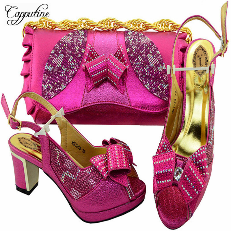 Фотография Capputine High Quality Rhinestone Woman Shoes With Bag Set New African High Heels Shoes And Bag Set For Wedding Dress M10592