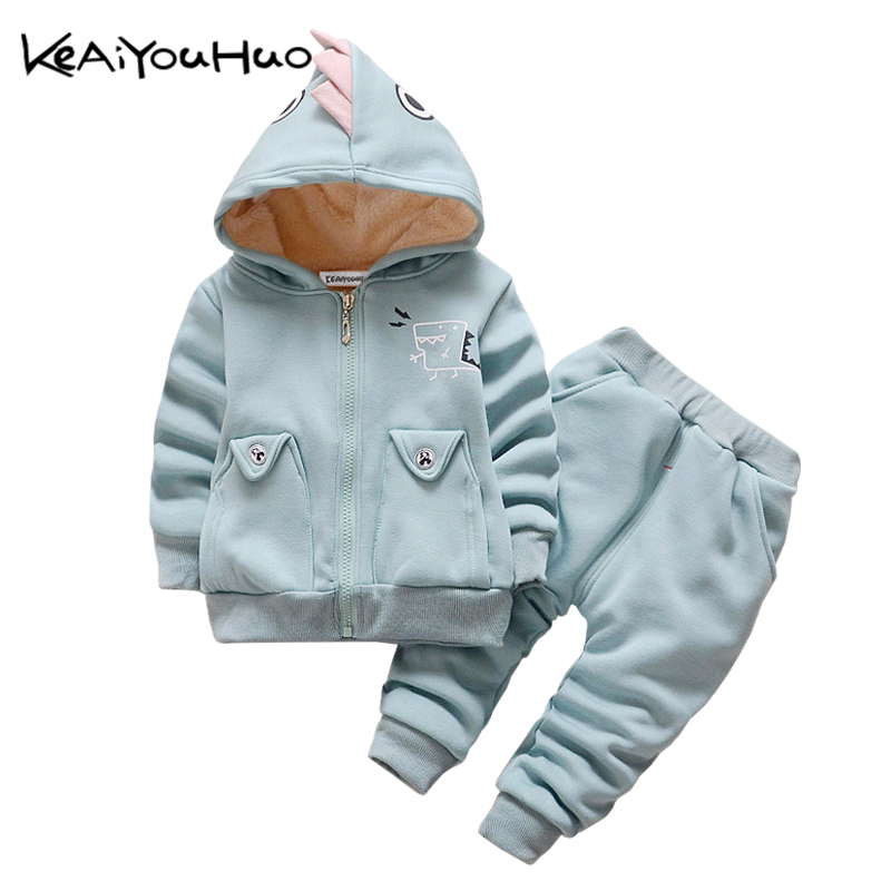 KEAIYOUHUO Winter Kids Clothing Clothes Set Boys Girls Cute Dinosaur Warm Coat+Pants 2pcs Outfit Sport Suit Toddler Children 2015 new arrive super league christmas outfit pajamas for boys kids children suit st 004
