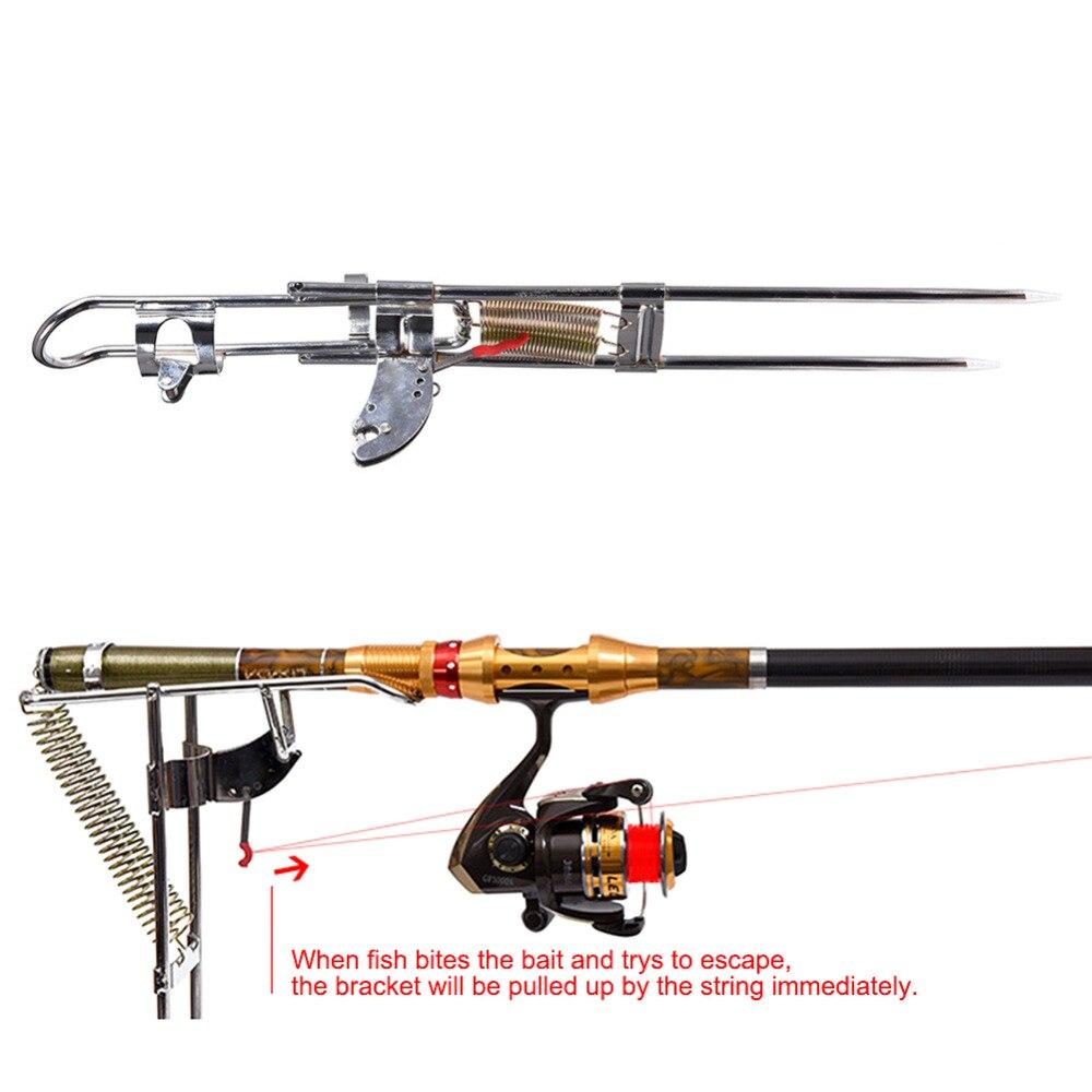 Automatic Double Spring Angle Fish Pole Tackle Bracket Fishing Bracket <font><b>Rod</b></font> Holder Anti-Rust Steel Tools Fishing <font><b>Rods</b></font> Accessories