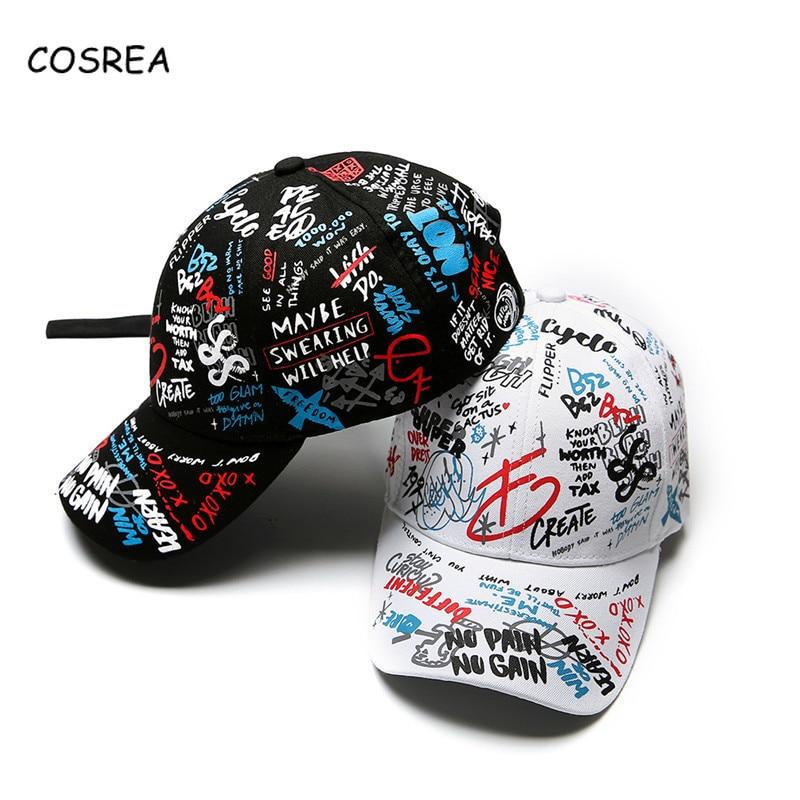 Baseball Cap Graffiti Sun Caps Visor Spring Letters Hats Adjustable Snap-back Autumn Summer