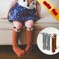 Novo 2015 moda polainas meias para crianças na altura do joelho calcetines largos animal fox bebê kawaii vestido ocasional meia calca infantil