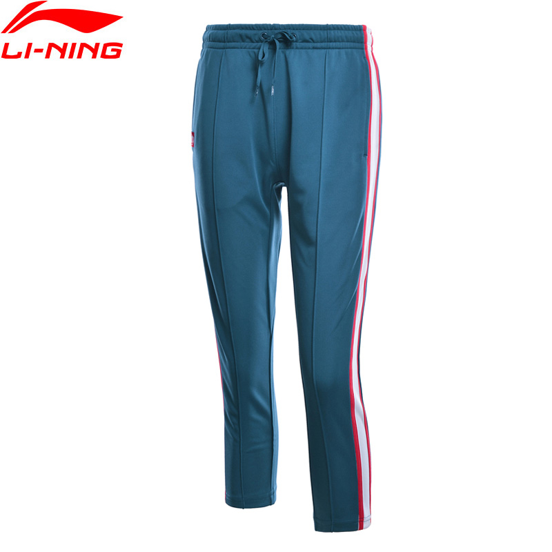 Li-Ning Women Basketball Series 3/4 Pants 100% Polyester Loose Fit Stripe LiNing Li Ning Comfort Sports Trousers AKQN018 WKY183