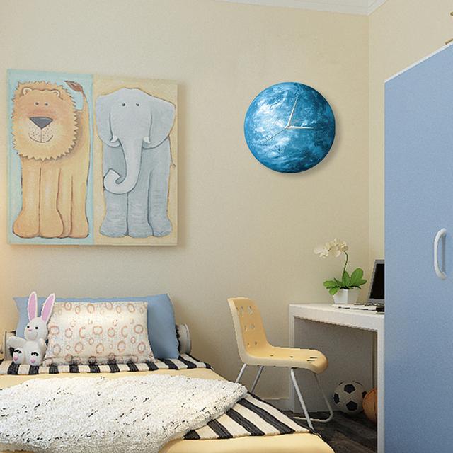 30cm*30cm Creative acrylic wall clock luminous wall clock luminous planet room office den living room wall clock round