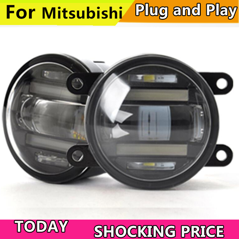 Car Styling Fog Lamp for Mitsubishi Outlander Pajero Grandis ASX L200 Triton LED Fog Light for mitsubishi l200 outlander 2 pajero 4 grandis 2003 2015 car styling angel eyes drl led fog lights 9cm spotlight ocb lens