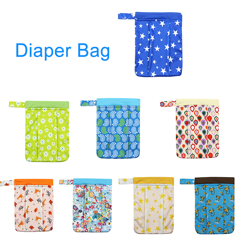 Baby Diaper Bags Printed Double Zippered Wet Dry Bag Waterproof Wet Cloth  Backpack Reusable Diaper Bag for baby care
