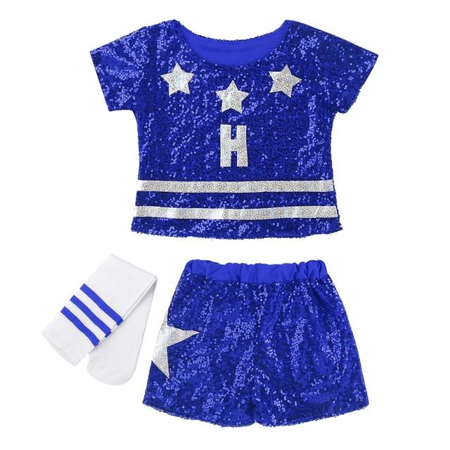 Kids Teens Stars Sequin Tops Shorts Socks Dance Set Children Girls Hip-hop Jazz Stage Street Dancing Cheerleader Costume