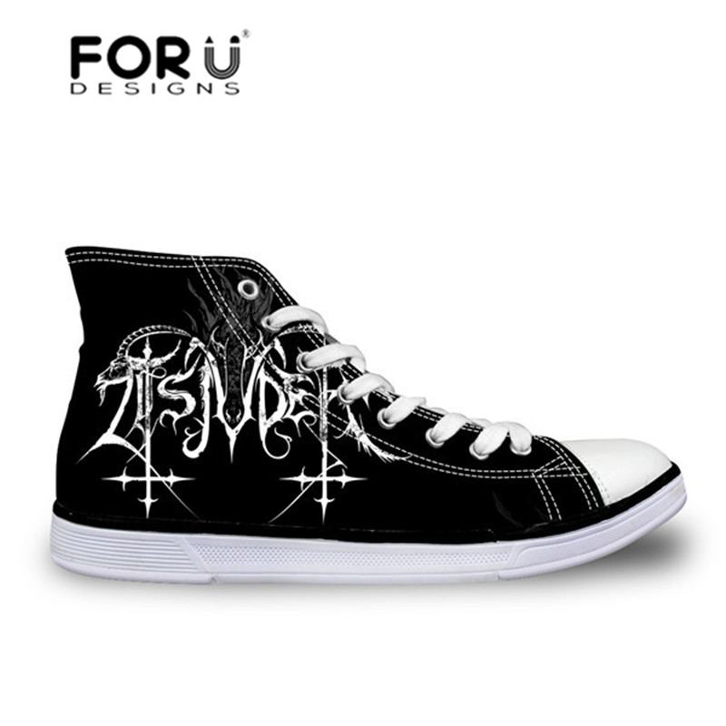 FORUDESIGNS Heavy Metal Rock Pattern Men Casual Shoes Fashion High Top Canvas Shoes for Boys Lace-up Sneakers Platform Flats forudesigns sneakers geometry dash pattern high top shoes woman classic lace up vulcanize shoes autumn students light mesh flats