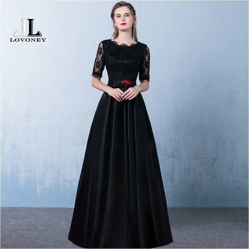 LOVONEY 2019 New Arrival Evening Dress Long Women Occasion Party Dresses Black Formal Evening Gown Vesetido De Festa YM301E