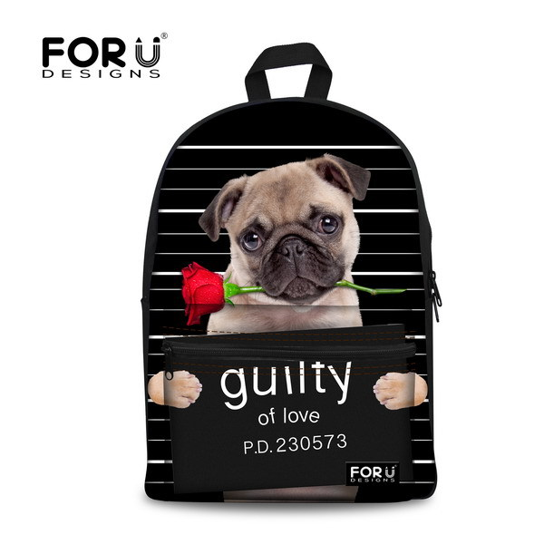 Stylish 3D Custom Children School Backpack for Girls Cool Animal Pug Dog Backpack College Students Fashion Women Animal Pack
