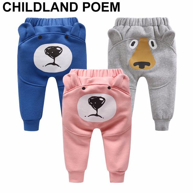 Infantil bebê recém-nascido do menino calças meninas leggings calças do bebê urso meninos harém Calças PP calças compridas bebê menina dos desenhos animados Para criança
