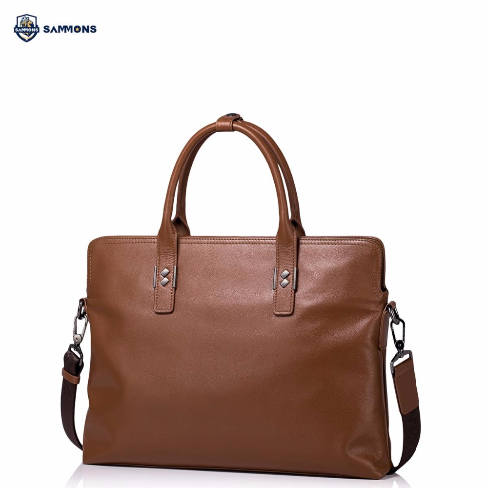 SAMMONS Brand Design Fashion Business Genuine Cow Leather Men Briefcases Handbag Shoulder Crossbody Laptop Bags