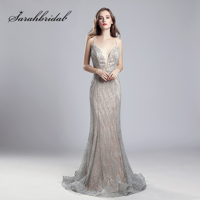 253b60df635 Sexy Mermaid Long Prom Dresses Tulle V-Neck Back Open Floor Length Crystal  Spaghetti Strap Evening Gowns Court Train Beads CC531