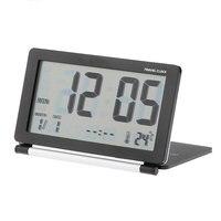 높은 품질의 접이식 여행 알람 시계 데스크탑 디지털 LED 알람 시계 시간 날짜 온도계 알람 및 스누즈 시계-블랙