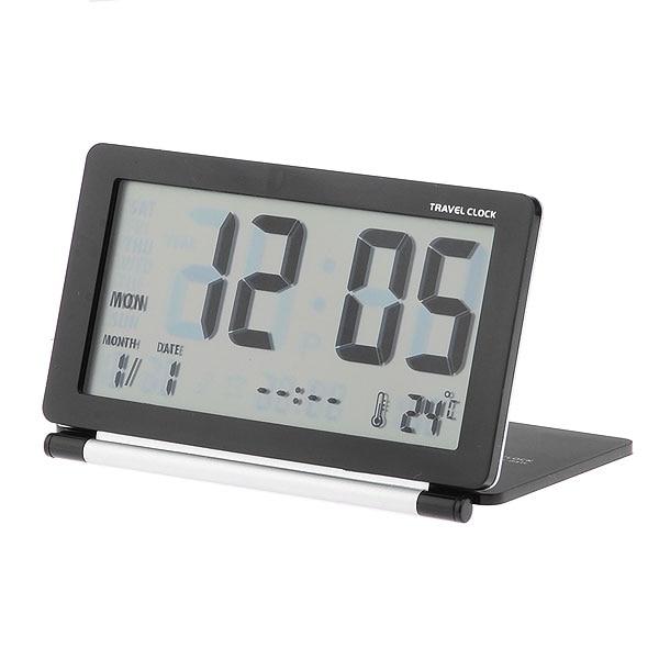 High Quality Folding Travel Alarm Clock Desktop LED Digital Alarm Clock With Time Date Thermometer Alarm And Snooze Clocks-Black