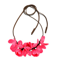 Big Brand PU Leather Resin White Flower Chocker Necklace OL Women Collares Mujer For Girl Necklaces