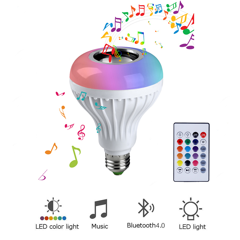 13 Colors E27 Wireless Bluetooth Speaker 12W RGB Bulb LED Lamp 110V 220V Smart Led Light Music Player Audio with Remote Control lumiparty intelligent e27 led white rgb light ball bulb colorful lamp smart music audio bluetooth speaker with remote control