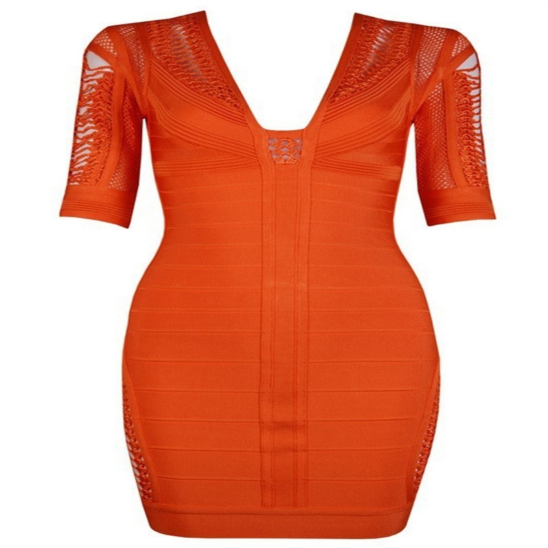 2016 new arrival ORANGE half sleeve V neck sexy and elegant exquisite celebrity Bodycon Bandage Dress AA-396