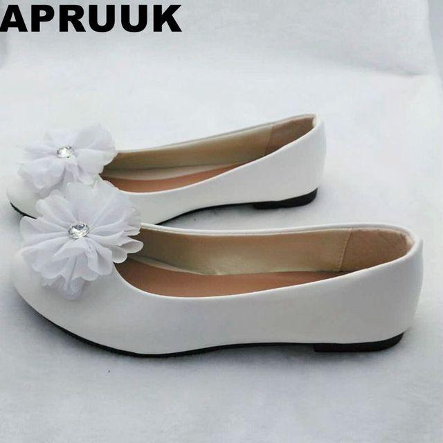 bdbe34b9cd2 Ballet flat white flower wedding flats shoes for woman ladies female flower  girl party dress flats shoes white plus size